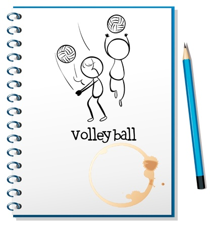 serve: Illustration of a notebook with a sketch of the volleyball players on a white background