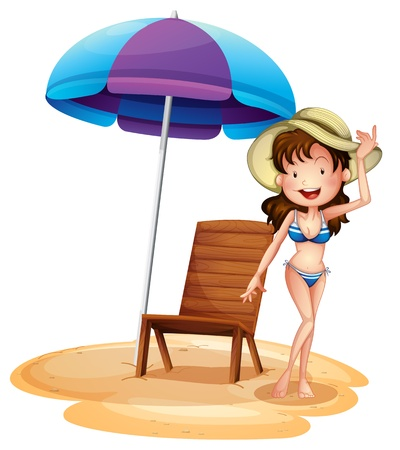 Illustration of a girl wearing a bikini beside a summer chair and umbrella on a white background