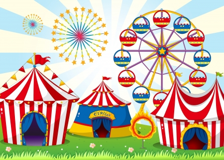 amusement park rides: Illustration of a carnival with stripe tents