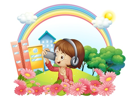 establishments: Illustration of a girl with a headset and a phone with camera on a white background