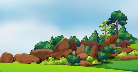 Illustration of a forest with big rocks Vector