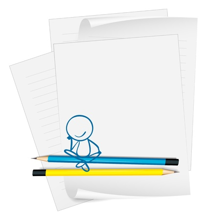 sit down: Illustration of a paper with a drawing of a boy sitting on a white background Illustration