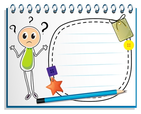 quadrilateral: Illustration of a notebook with a drawing of a confused boy on a white background