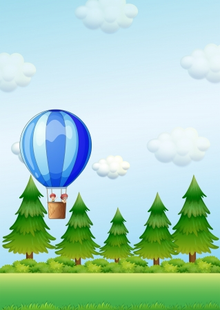 overlooking: Illustration of the two kids riding in an air balloon