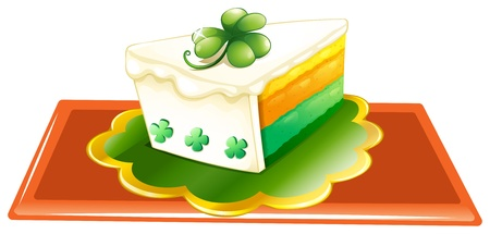 feast of saint patrick: Illustration of a slice of cake for the celebration of St. Patricks day on a white background