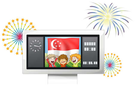 singaporean flag: Illustration of a scoreboard with the Singaporean flag and the three kids on a white background Editorial
