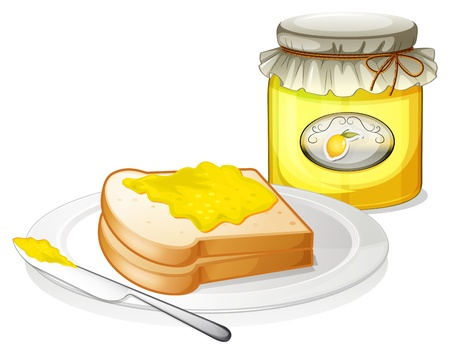 melaware: Illustration of a bottle of jam and a sandwich on a white background