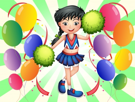 occassion: Illustration of a cheerleader surrounded with balloons Illustration