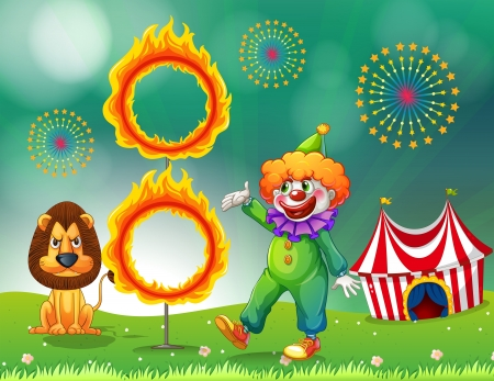 ring of fire: Illustration of a lion and a clown with a ring of fire