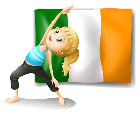 kids exercise: Illustration of a girl and the flag of Ireland on a white background Illustration