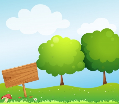 Illustration of an empty wooden signboard near the mushroom Illustration