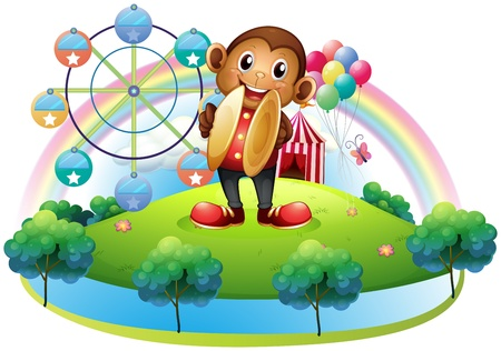 amusement park ride: Illustration of a monkey with a ferris wheel and balloons at the back on a white background
