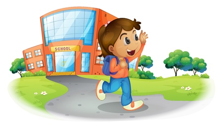 dismiss: Illustration of a girl going home from school on a white background