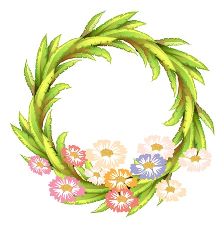 beautification: Illustration of a round border with colorful flowers on a white background