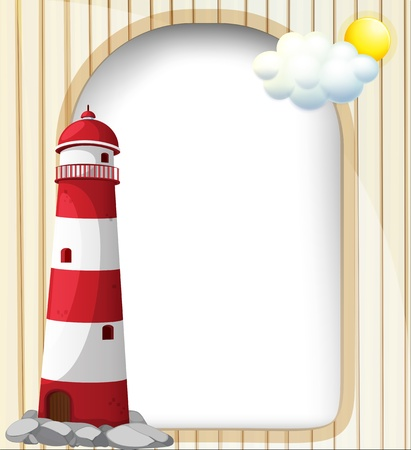 Illustration of a lighthouse and the empty template Stock Vector - 18825185
