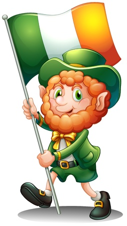 patron saint of ireland: Illustration of a old man with the flag of Ireland on a white background Illustration