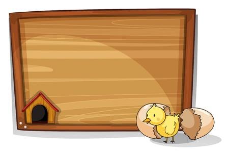 pollitos: Ilustración de un huevo eclosionó cerca de un tablero vacío sobre un fondo blanco