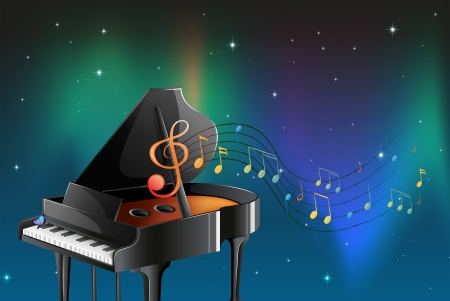 pianist: Illustration of a black piano with musical notes