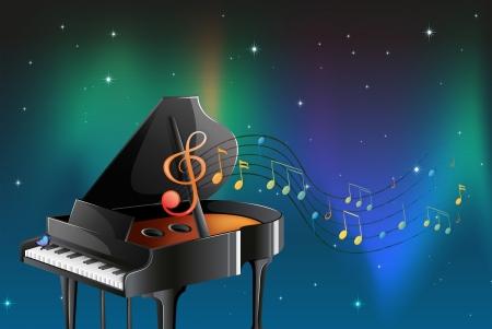 pianista: Ilustraci�n de un piano negro con notas musicales
