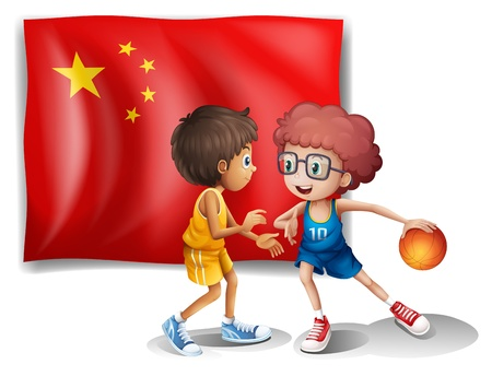Illustration of the two boys playing basketball in front of the flag of China on a white background Illustration