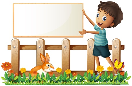 child holding sign: Illustration of a boy holding a framed board in the garden on a white background
