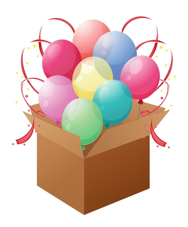 Illustration of a box with balloons on a white background  Vector