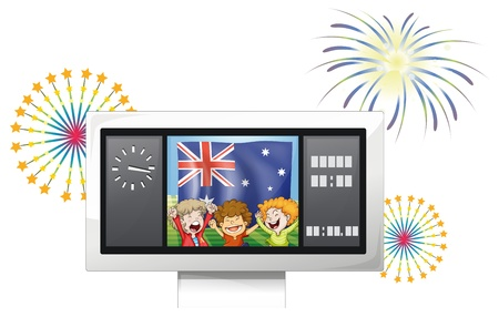Illustration of the board with the flag of Australia and three happy kids on a white background Vector