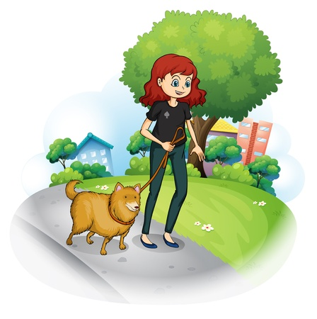 Illustration of a girl with a dog walking along the street on a white background Vector