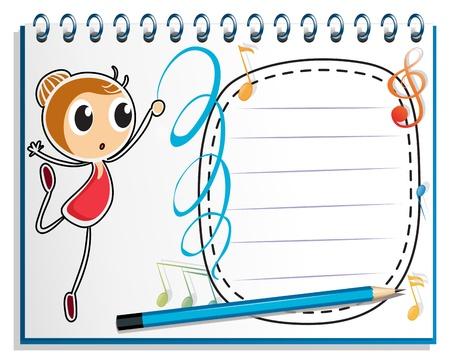 puntig: Illustratie van een notebook met een tekening van een meisje dansen ballet op een witte achtergrond