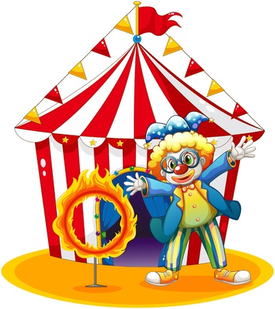 Illustration of a circus tent at the back of the clown with a ring of fire on a white background Stock Vector - 18825255