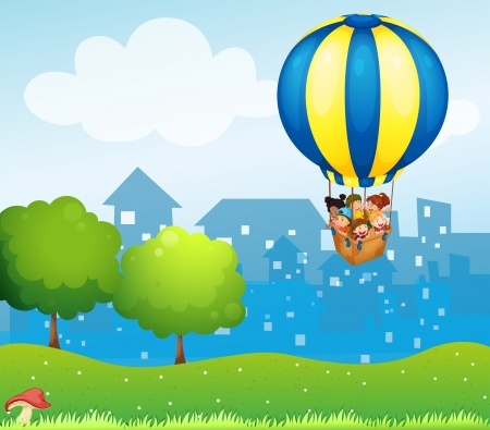 Illustration of a big hot air balloon with kids Illustration