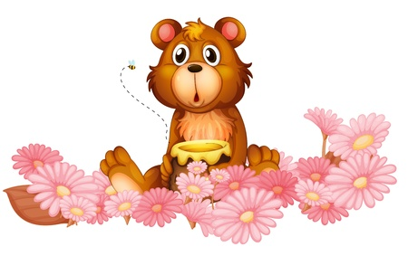 honey bear: Illustration of a garden of pink flowers with a bear on a white background Illustration