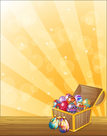 hunts: Illustration of a treasure chest full of colorful eggs