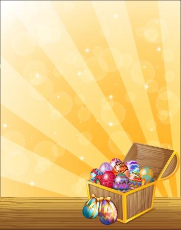 treasure hunt: Illustration of a treasure chest full of colorful eggs