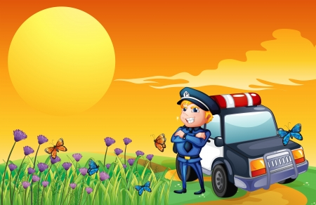 public servants: Illustration of a sunset view with a policeman and a car at the hill