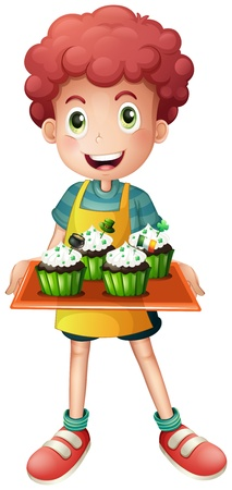 Illustration of a boy holding a tray of cupcakes on a white background Stock Vector - 18825187
