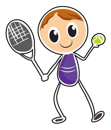 Illustration of a sketch of a boy playing tennis on a white background Stock Vector - 18824893