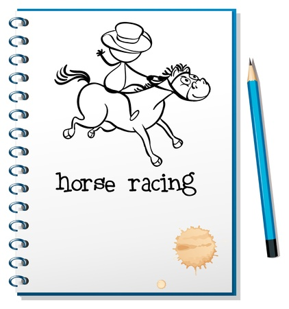 Illustration of a notebook with a sketch of a man riding a horse on a white background Vector