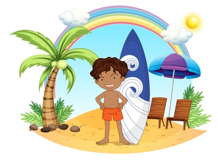 Illustration of a boy and his surfing board at the beach on a white background