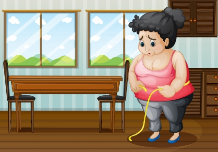Illustration of a sad fat woman Stock Vector - 18825171