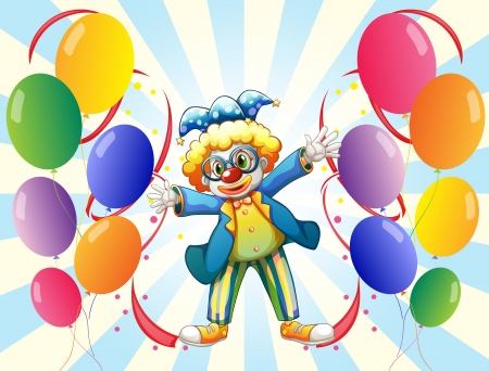 Illustration of the twelve balloons and the male clown Vector