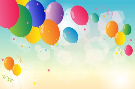 office supplies: Illustration of a stationery with colorful balloons Illustration
