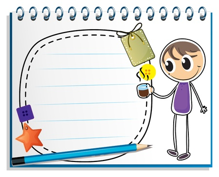 Illustration of a notebook with a drawing of a boy holding a cup of hot tea on a white background Stock Vector - 18824953