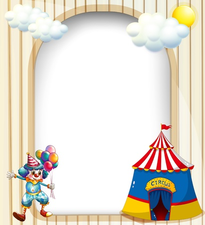 magician: Illustration of an empty template with a circus tent and a male clown Illustration
