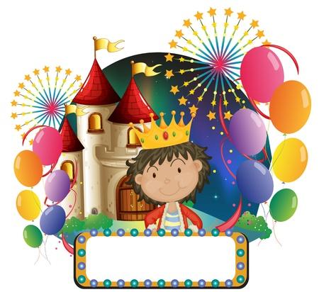 principe: Illustrazione di una scheda vuota di fronte al principe su uno sfondo bianco