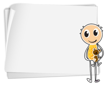 Illustration of a boy holding a teddy bear beside a white paper on a white background Stock Vector - 18824935