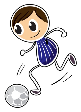 kick ball: Illustration of a sketch of a boy playing soccer on a white background Illustration