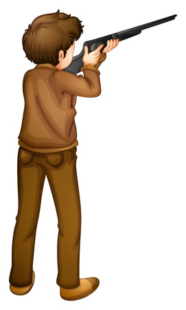 shooting gun: Illustration of a back view of a hunter on a white background Illustration