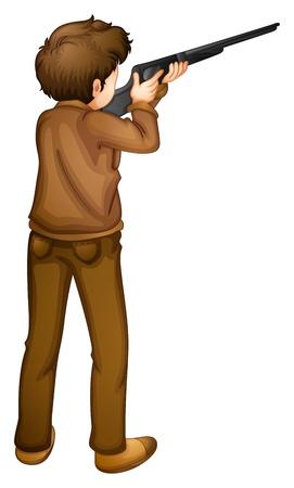 hombre disparando: Ilustración de una vista posterior de un cazador en un fondo blanco Vectores
