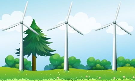 Illustration of the three windmills above the hills Vector